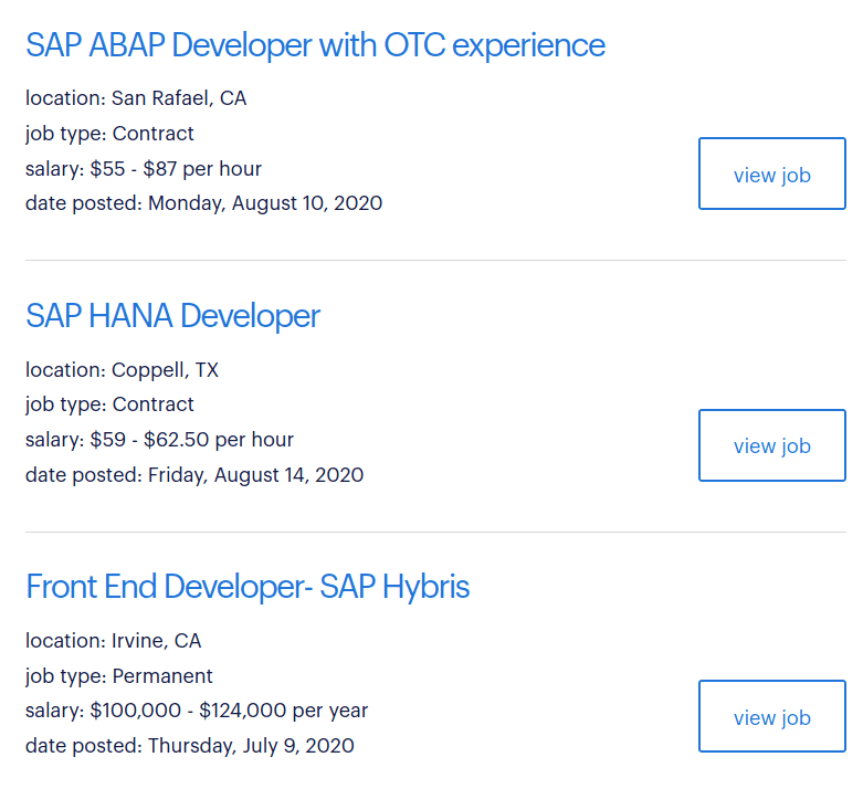 SAP developer listing